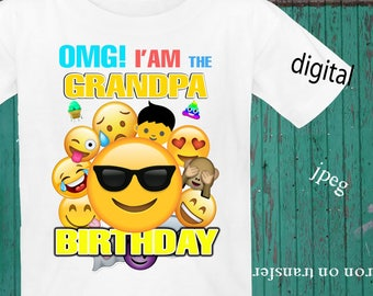 INSTANT DOWNLOAD, Emoji, Iron On Transfer, Emoji Birthday Shirt, Emoji Transfer, Emoji Party, Digital Design, JPEG, Grandpa