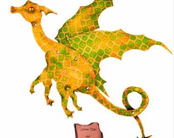 Yellow Dragon, digital Download, fairy dragon, paper doll, fairy doll, paper dragon, art doll, articulated, posable