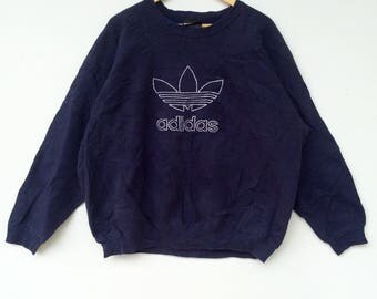 Adidas Sweatshirt Big Logo Embroidery Sweat Medium Size Jumper Pullover Jacket Sweater Shirt Vintage 90's