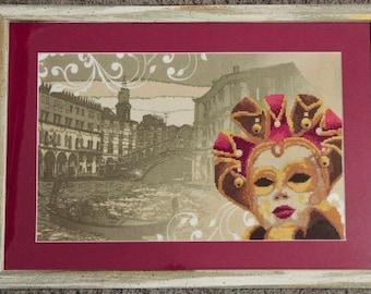 Venice Carnival Cross Stitch Framed/Venice Carnival cross-stitch already framed