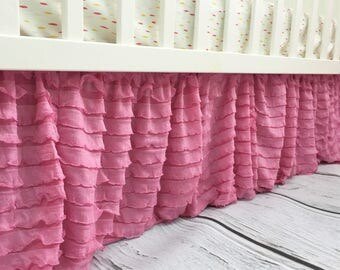 Light Pink Crib Skirt - Ruffle Crib Skirt- Pink Crib Skirt- Baby Bed Skirt- Long Crib Skirt- Ruffled Crib Skirt Baby Nursery Baby Room Decor
