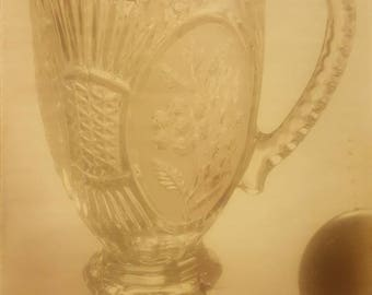 Crystal pitcher with floral design