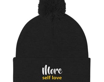 More self love Pom Pom Knit Cap