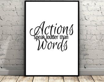 Actions Speak Louder Than Words Printable Poster 8 x 10, Instant Download, Heart, Pulse, Wall Art Decor, Art Print