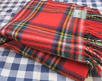 "Tartan Plaid Irish Wool Stadium Blanket, 68"" x 60"" / Providence Woolen Mills, Foxford Providence Shawl, Made in Ireland"