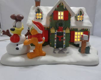 Vintage Garfield Ceramic Christmas House