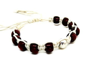 Bead bracelet- Silver bead bracelet- Glass bead bracelet- Red bracelet- Everyday bracelet- Beaded bracelet- Boho bracelet- Women's bracelet