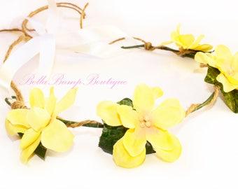 Yellow and Green Flower Crown / Flower Girl Crown / Hair Accessories / Flower Crown /