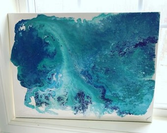 "Original Acrylic Abstract Art- Silver, Blue, Purple, Green, with Resin Coat 24"" x 18"" on on Stretched Canvas"