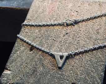 V Letter necklace, eco friendly monogram gift, hallmarked silver handmade jewelry