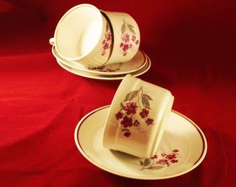 Porcelain Cups, Coffee Tea Cups, China Set of 3, Vintage Teacups, Tea Drinkware, Vintage Style, Floral Retro Cups, Old Tea Service 60's 70's