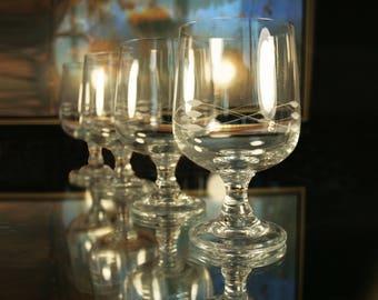 Vintage Glassware Wine Glasses Soviet Vintage Wine Gift Set Wine Set of 4 Drinking Barware Retro Barware USSR 60's 70's 80's Vintage Glasses
