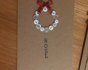 Noel Christmas card. Handmade Christmas card. Christmas wreath