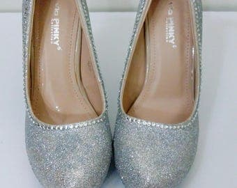 Custom glitter wedding shoes,bows and bling