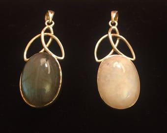 Moonstone or Labradorite, 925 Silver Pendant