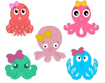 Octopus Ocean Animals Cuttable Design PNG DXF SVG & eps File Silhouette Designs Cameo