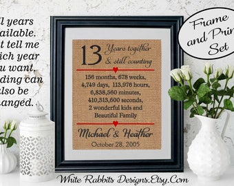 Framed 13th Anniversary Gift Wedding Personalized
