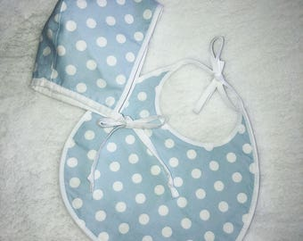 Newborn Matching Bonnet & Bib Set. Baby shower gift. Little Dove Wings