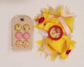 Earring and Bow set Featuring Belle