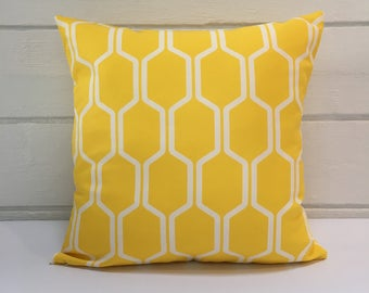 Yellow & White Cell Pattern Outdoor Cushion