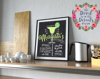 Chalkboard Drink Menu Margarita Recipe Wall Art Digital Design