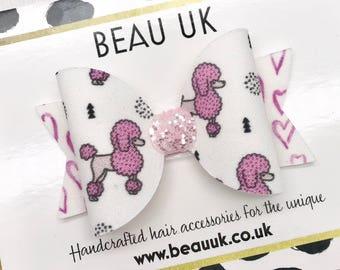 Pink poodle fabric & glitter Medium hair bow clip headband hair accessories
