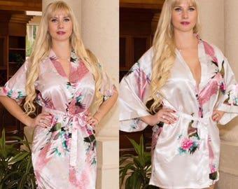 Silk Bridesmaid Robes -Robes for Bridesmaids- Floral Bridesmaids Robes -Satin Bridesmaids Robes - Kimono Bridesmaids Robes - Bridesmaid Gift