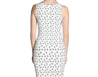 French Bulldog Dress With Small Frenchie Faces All Over