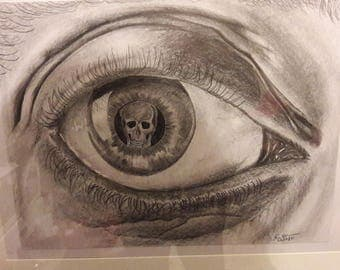 Hand drawn print, looking death in the eye