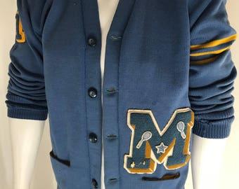 Letterman Sweater   Vintage 70s Varsity   Kandel Wool Cardigan