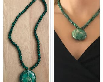 Beautiful necklace with Malachite and variscite
