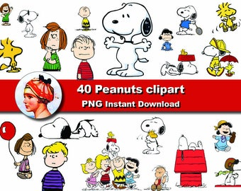 40x Peanuts snoopy clipart png - printable Digital Clipart Graphic Instant Download