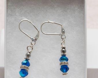 Blue drop earring with rhinestone