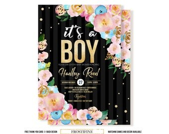 It's a boy baby shower invitation, DIY baby shower invitation, Black stripes with pink and blue flowers baby shower