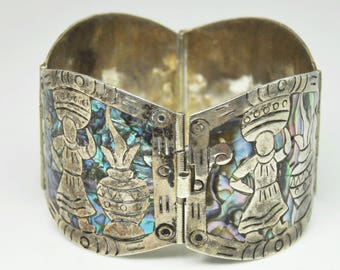 """Mexico Sterling Silver Mother of Pearl Inlay Bracelet OCM 7"""" Carrying on Head"""
