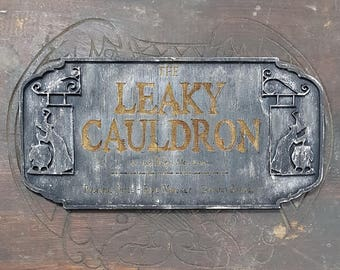 Harry Potter Leaky Cauldron Wood Sign. Your favourite Inn just where you want. Made of Wood and Hand painted and aged for a movie look.