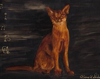 Simba - Original Coffee Painting, coffee art, cat