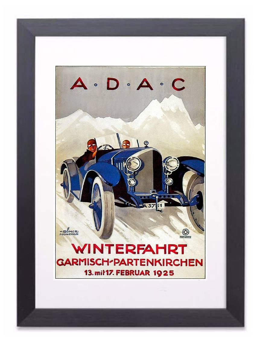 Adac Framed Vintage Car Advertising Poster