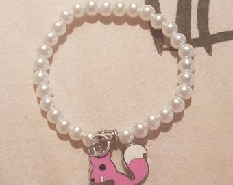 New kids 6mm Pearls Beads stretch bracelet with anger aquirel