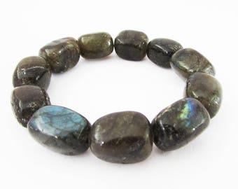 Black Chunky Gemstone Bracelet, Stretch Gemstone Bracelet for Women, Abstract Bracelet, Chunky Bracelet, Monochrome Color Bracelet, Jade