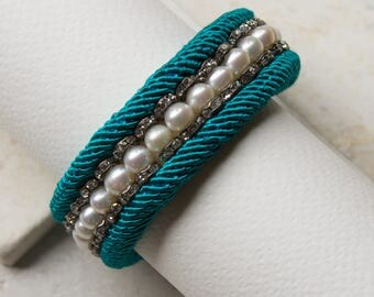 Teal Silk & Pearl Cuff Bracelet