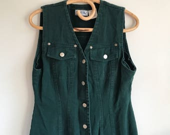 Green Denim Jean Button Up Dress by True Blue Size Large