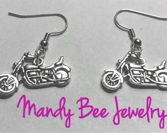 Handmade motorcycle earrings