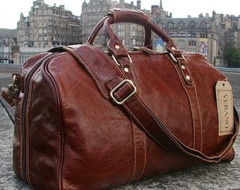 SALE  New Leather Italian Duffle Travel Flight Gym Caryon Bag Holdall Mens Birthday Gift Brown Verano