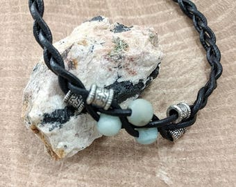 Leather Bracelet with Aventurine