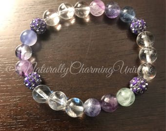 Genuine Handcrafted Fluorite and Clear Quartz healing Bracelet