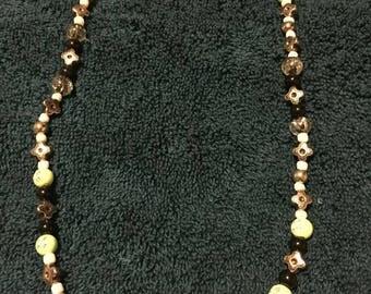 Elegant  Black White and Crystal Necklace