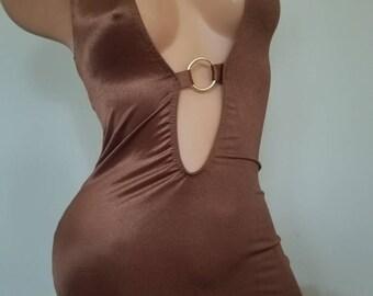 Keyhole Stripper Exotic Dancer Club Dress w/ Matching G-String