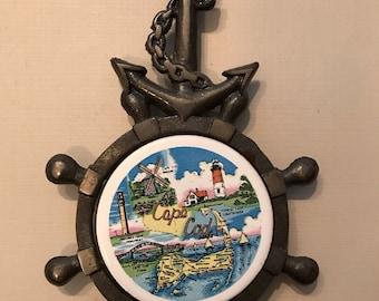Vintage Cape Cod Cast Iron & Ceramic Trivet