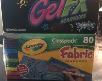 2 new Crayola 80 pack markers! 80 gelfx markers and 80 fabric markers.